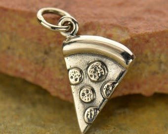 Silver Pizza Slice Charm or Necklace. 925 Silver. Get 1, Get All 8 And Make A Whole Pie With Your Friends. Item 365