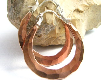 Small Copper Hoop Earrings, Hammered Copper Earrings, Forged Sterling Silver And Copper Mixed Metal Hoops, Metalsmith Copper Jewelry