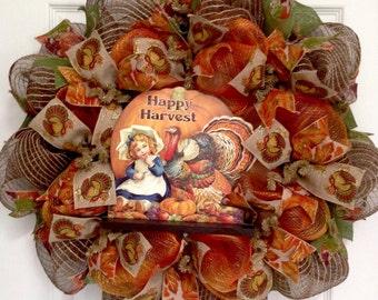 Happy Harvest Thanksgiving Deco Mesh Handmade Wreath