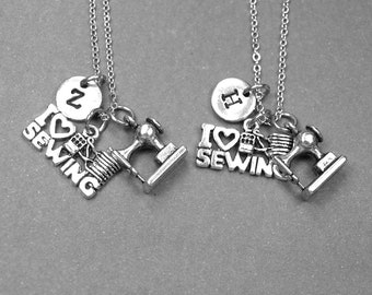 Best friend necklace, love to sew necklace, sewing machine necklace, best friend jewelry, best friend gift, friendship jewelry, monogram