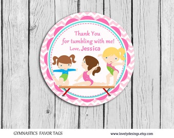 GymnasticThank you Tags, Thank you Labels,Gymnastic Birthday Party, Gymnastic Party Favors PRINTABLE