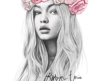 Gigi Hadid flower crown fashion illustration portrait