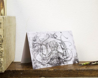 Octopus Greetings Card, by Rosie McLay. Etching Thanks Birthday Sympathy Blank Nature Wild Animal