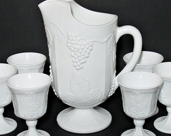 Vintage Colony Harvest Milk Glass Pitcher with Six Matching Goblets