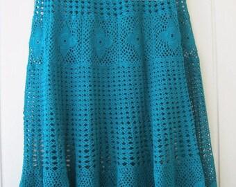 Boho clothes, Skirt lace, Skirt Boho, Skirt handmade, Long skirt, Skirt for woman, Skirt green ,Skirt Emerald, Ready for shipping.