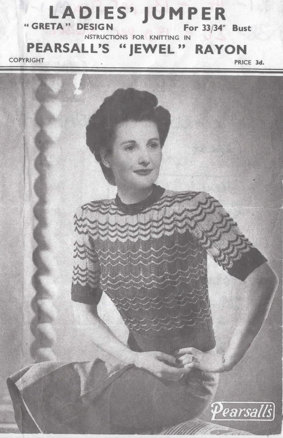 1940\'s Pearsall\'s Knitting Pattern for a Pretty Jumper with Stripes ...