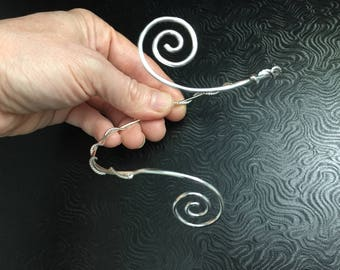 Sterling Silver Spiral Upper Arm Scrolling Cuff, Arm Torc,  Celtic Arm Band, Arm Torque, Upper Arm Band, Scrolling Sterling Silver Jewelry