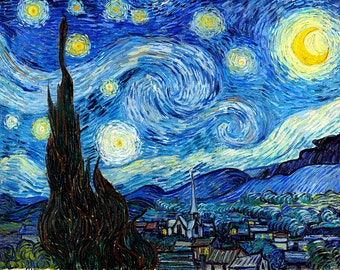 "VINCENT VAN GOGH poster reproduction of painting ""Starry Night "", 1889.print on canvas 16.5X11.7"