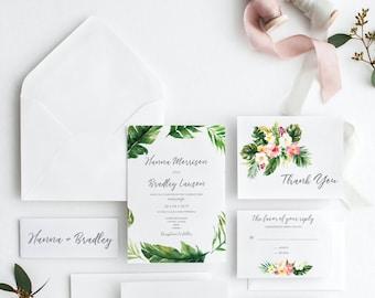 Printable Wedding Invitation, Tropical Wedding Invites, Invitation Suite, Destination Wedding Invites, Nature Wedding, Calligraphy #R099