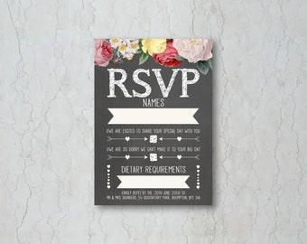Floral Chalkboard Wedding RSVP