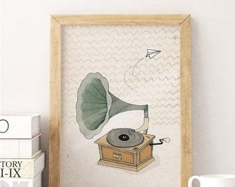 "The Music // A4 (8""x11"") Print, Music, Grammophone, Vinyl, Poster, Artprint, Vintage"
