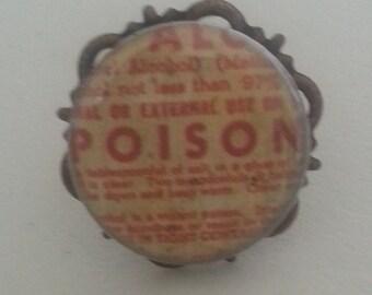 Vintage Poison Bottle Label Ring Creepy Goth Steam trunk Cabochon  Adjustable  Ring