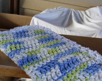 Blue Green an White Dish Cloth