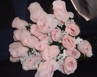 84 Pale Pink Silk Rose Flowers w/Raindrops - Wedding Flowers- Bridal/Floral - Centerpiece Flower Arangement Supplies- Bridal Bouquet Roses