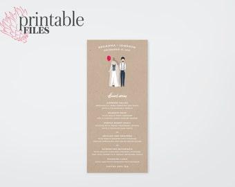 The Avery Hand-Drawn Caricature Wedding Menu Card (Printable)
