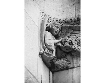 NYC Photography Architecture Photography St. Bartholomew's Church Manhattan Midtown Black and White NYC Print New York City Art Angel Statue