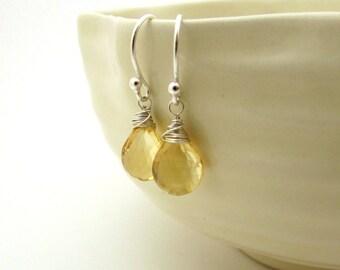 Silver citrine earrings, November birthstone jewelry, sterling silver wire wrapped earrings, citrine jewelry, pale yellow gemstone earrings