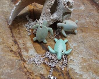 Ceramic Sea Turtle Pendant Necklaces