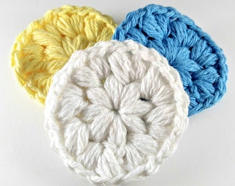 Face scrubbies crochet makeup removers cotton scrubby mini washcloths Eco-Friendly Set of 3 Stocking Stuffer