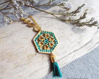 Miyuki bead necklace/miyuki delica beads/brick stitch/gold filled chains/miyuki jewelry/gold hexagon/mandala/teal pompon