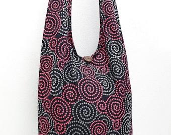 Women bag Handbags Cotton bag Hippie bag Hobo bag Boho bag Shoulder bag Sling bag Messenger bag Tote bag Crossbody bag Purse Swirl Black Red