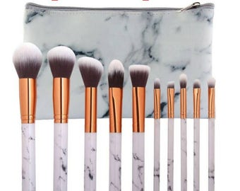 10pcs Mable Texture Makeup Brushes Set Foundatin Powder Eye Shadow Blending Marbling Flat Oblique Head Cosmetic Brush Tool gift for women