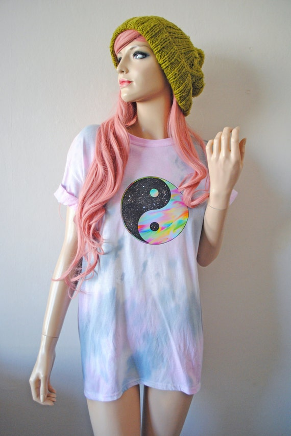 Yin Yang Psychedelic Peace Trippy Boho Tie Dye T-Shirt Grunge Oversized