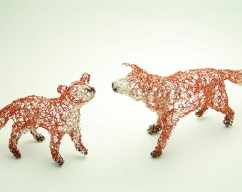 fox and cub wire sculpture