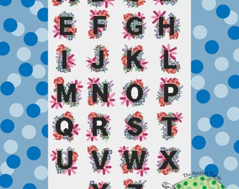 Spring Floral Alphabet Sampler Modern Cross Stitch Pattern Download