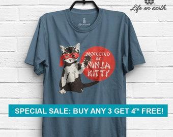 Cat Shirt   Protected by Ninja Kitty   Gift for Cat Lovers   Cute Funny Kitten   Crazy Cat Lady   Paw Neko Meow Tshirt   Men Women t shirt
