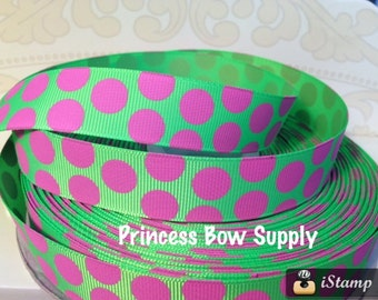 "7/8"" Hot pink lime green acid green polka dot grosgrain ribbon BTY bow baby sew birthday party supply scrapbook supplies Christmas Minnie"
