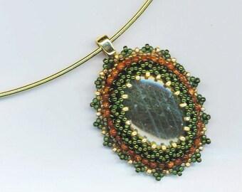 Beadwoven Labradorite Statement Pendant . Genuine Stones . Goldstone . Gold and Moss Green - Labradorite Pendant by enchantedbeads on Etsy