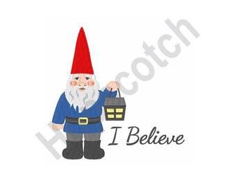 I Believe - Machine Embroidery Design, Gnome, Lantern