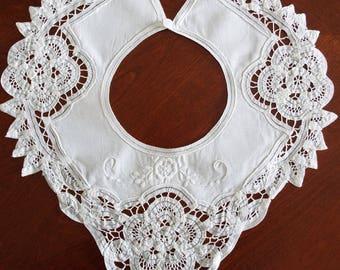 Vintage White 1940's Lace Linen Cut Work Ladies Collar