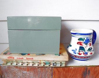 Vintage File Card Box Metal Light Green Recipe Organizer