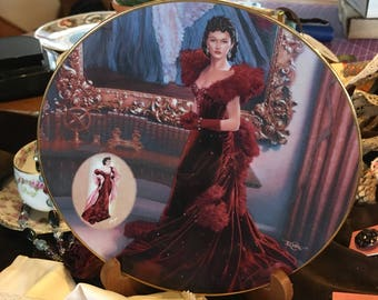Vintage Gone With The Wind Collectible Plate The Red Dress Ltd. Scarlet! 1420A