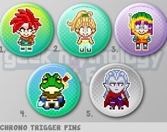 "Chrono Trigger Pins or Magnets 1.5"" - Crono / Marle / Lucca / Frog / Magus"