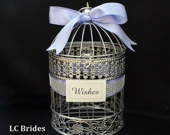 Bird Cage Wedding Wishing Well, Wedding Card Holder, Card Holder, Well Wishes Box, Birdcage, Baby Shower, Bridal Shower, Silver, Lavender