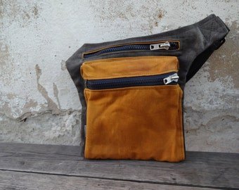 Fanny Pack Hip Bag Waxed Canvas Waxed canvas Pouch Festival  Bum Bag Travel Belt Canvas Waist Pack Hip Pouch