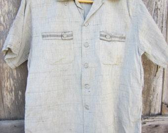 50s Cool Distressed Rockabilly Shirt by Battelstein's of Houston, Men's M // Vintage Straight Bottom Short Sleeve Shirt // Camp Shirt