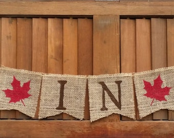 Fall in Love Burlap Banner, Fall Wedding Decor, Rustic Wedding Sign, Fall Home Decor