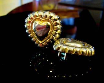 Vintage Escada Ribbed Goldplated Heart CLIP EARRINGS