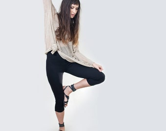 Black Cropped Leggings • Women's Legging • Thick Legging • Petite or Tall Length • Ethically made in our USA loft • L415 & Co (#415-36)