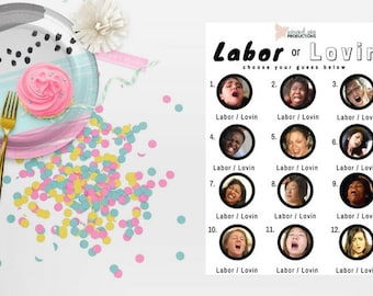 Choose your font and color - Labor or Lovin baby Shower Game