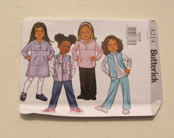 Butterick 3214 - Girl's Top, Dress, Pants, Vest - Size 2-3-4-5 and 6-7-8 - Sweatshirt Fabric and Knits - Uncut, Factory Folded - MSRP 9.95