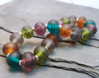 Lampwork Glass Bead Stretch Bracelet - Persian Jewel Tones, Handmade with Silver tone or Sterling Silver accent beads