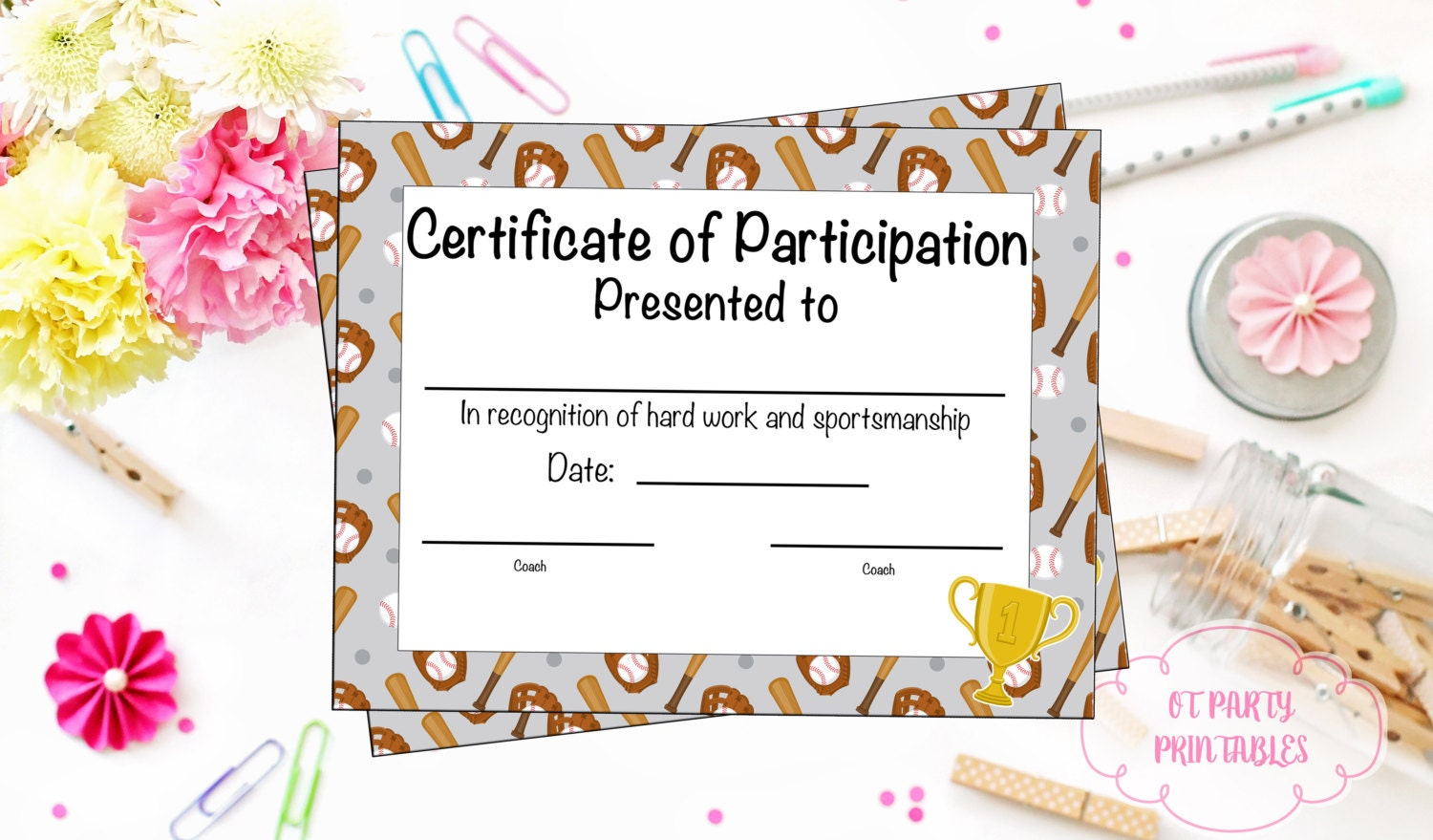 Baseball certificate of participation baseball award print zoom 1betcityfo Images