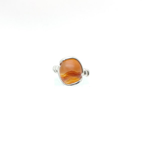 Carnelian Agate Ring | Carnelian Stone Ring | Sterling Silver Ring Sz 8 | Washington Carnelian Jewelry | Orange Stone RIng