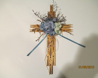 Handmade Floral Cross from Clothes Pins