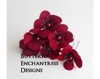 Red Hair Flowers, Wedding Hair Accessories, Bridal Hair Pins - Dark Red Velvet Sakura Flowers - Pearl Centers